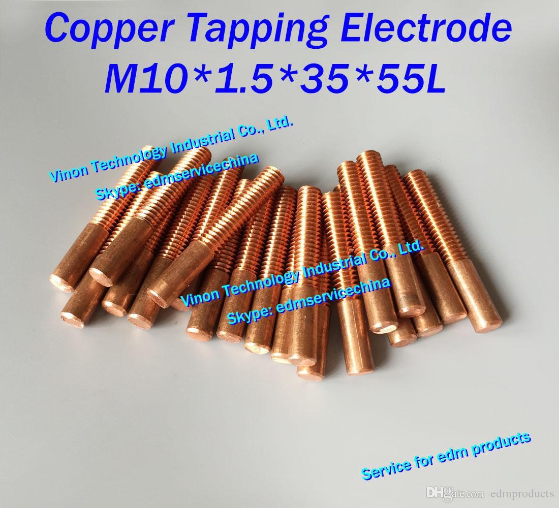 (10 sztuk / partia) M10X1.5x35x55mm Copper Orbital Stacking Elektroda. Metryczny orbicie EDM ELECTRODE M10 (Wybierz bez otworu lub z otworem)