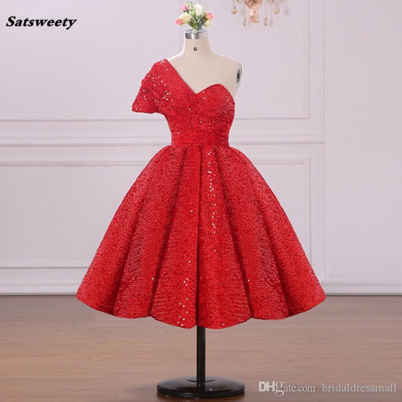 Rouge brillant paillettes arabe robe de bal robes de bal robe de soirée Abendkleider une épaule thé longueur femmes robe