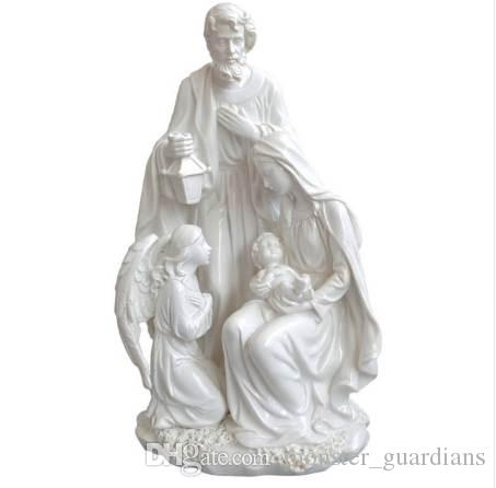 Noel Hediyesi Ev Dekorasyon Aksesuarları Kutsal Aile Melek Heykeli İsa Doğum Ile Heykelcik Dekoratif Figürler 10.8 inç