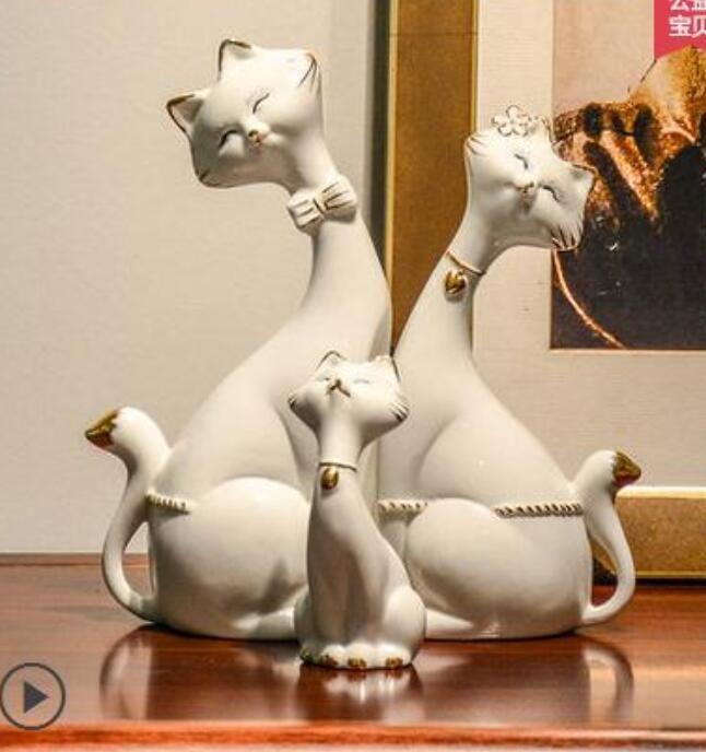 ceramica fiori gatto maneki neko home decor artigianato decorazione della stanza ceramica kawaii ornamento porcellana figurine animali fortuna gatto