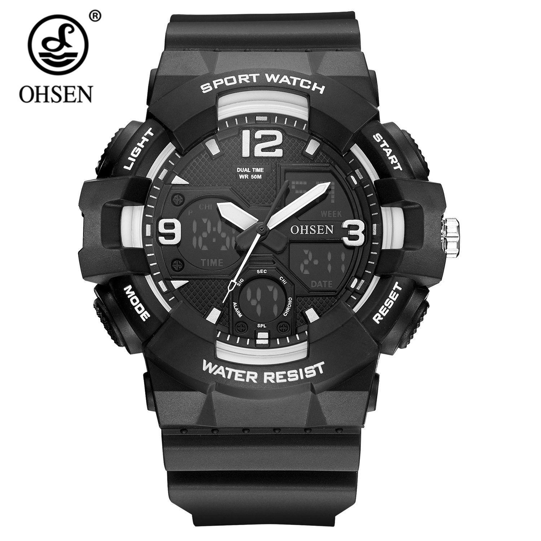 Fashion Original OHSEN Quartz Digital Watch Men Montre Homme Dual Time Swimming Sport Watch Rubber Band LED Wristwatch Relogios