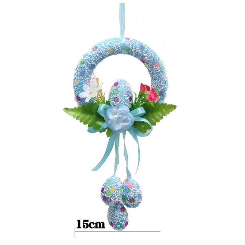 30x15cm oeuf de pâques décoratif guirlande de fête en mousse décoration bricolage suspendu ornements pour la fête cadeau décoration (couleur de Ramdon)