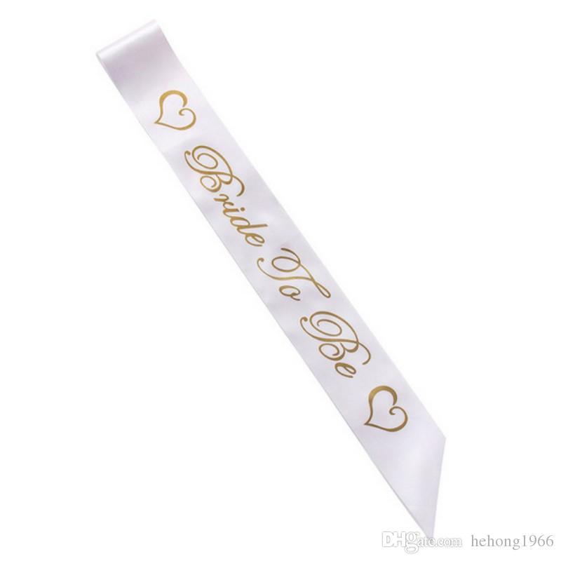 Para Letter Bachelorette Mulheres Sashes ouro a ser Satin Sash nupcial Hen Wedding Shower Party Decoration Supplies criativo 1 7HP BB