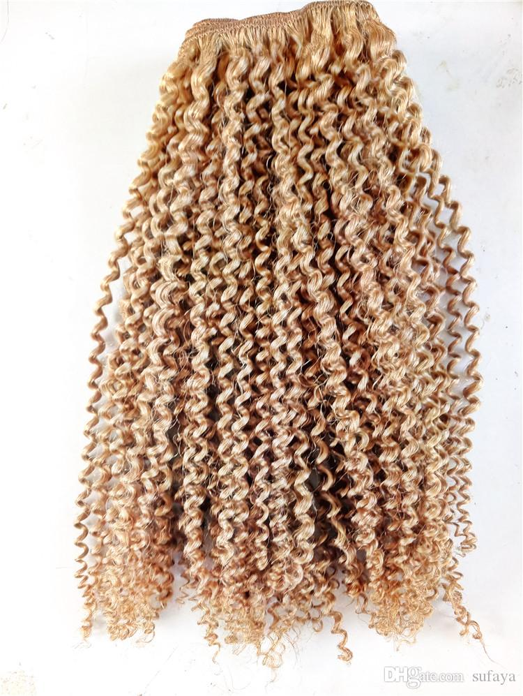 Top Quality Brazilian Kinky Curly Human Virgin Remy Hair Bundles Weft Hair Extensions Dark Blonde Brown Color