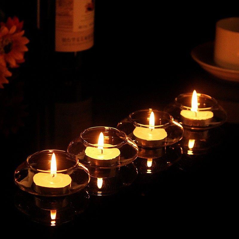 Vela colgante de cristal retro del té de la vela del té Vela colgante de cristal flotante transparente decorativa del hogar de la vela