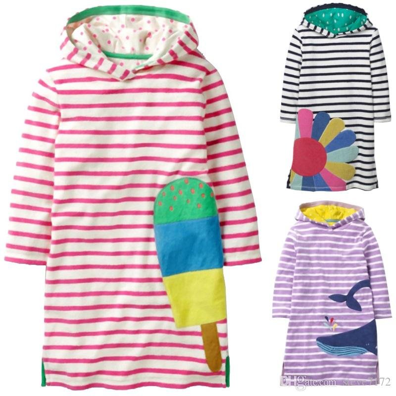 Stripe Ice Cream Girls One-Piece Dresses Hooded Children Dress Baby Girl Clothes Sweater Autumn Outfits Kids Hoodies Shirts Tops