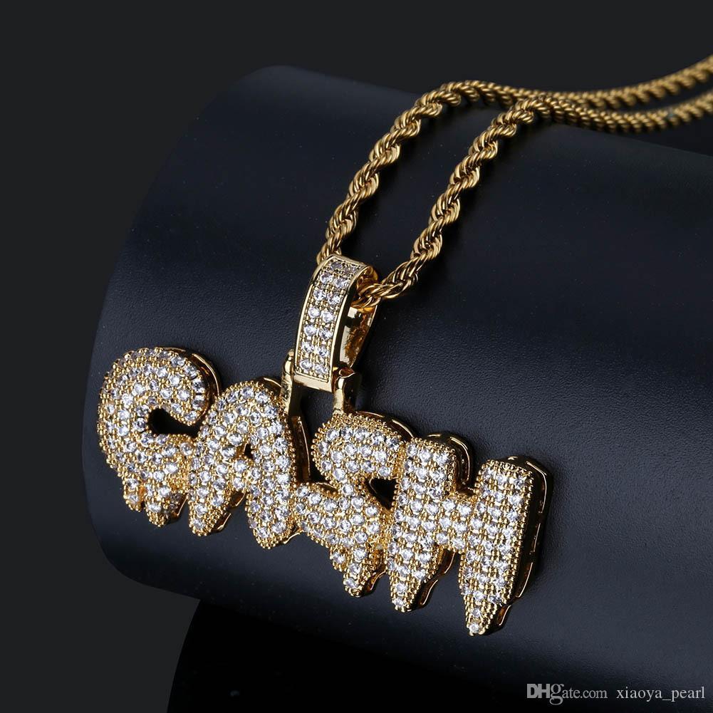 2018 Amazon cross-border moda europea e americana moda GASH lettere parola ciondolo intarsiato zircone collana accessori all'ingrosso