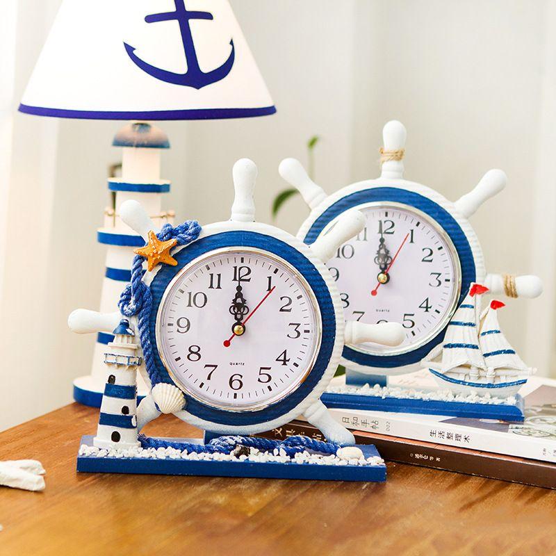 nautical bar decor.htm 2019 mediterranean nautical ship wooden table clocks living room  nautical ship wooden table clocks
