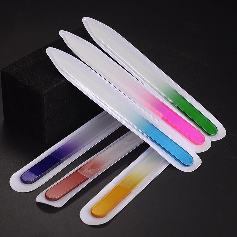 유리 네일 파일 도구 매니큐어 UV 폴란드어 도구에 대 한 9cm 내구성 버퍼 네일 케어 다채로운 크리스탈 네일 아트 도구 키트 6 색