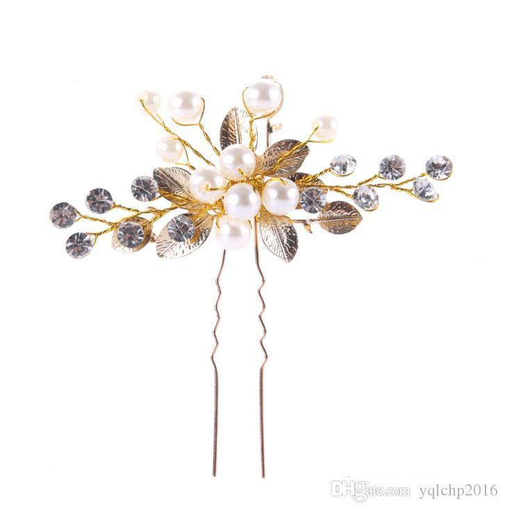 Золотые лавровые шпильки, жемчуг, украшения для волос и свадебные орнаменты