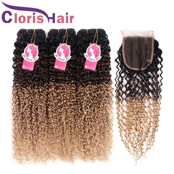 Kinky Curly Human Hair Bundles With Closure Blonde Ombre Peruvian Malaysian Virgin Hair Weaves Closure 1B 4 27 Curly Ombre Hair Extensions