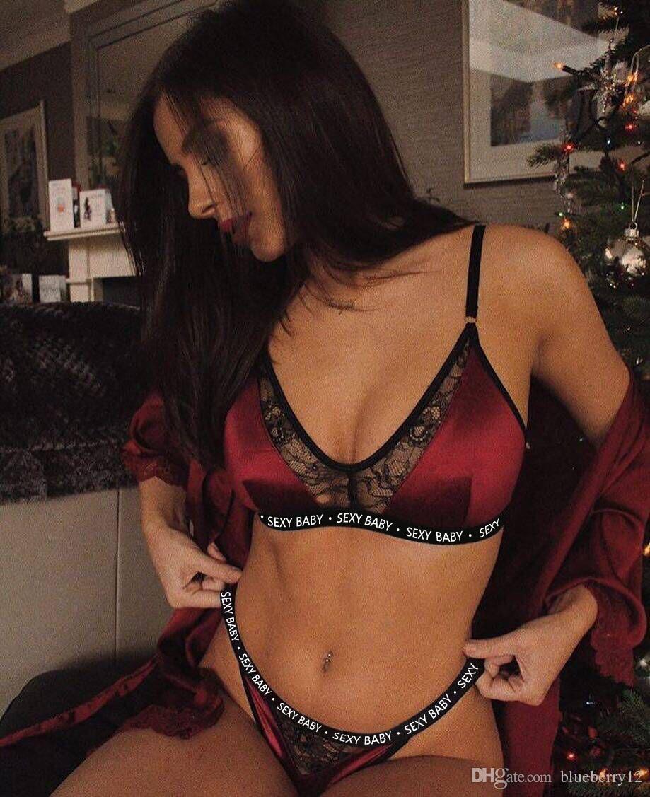 Frauen Sexy Unterwäsche Sets Heißer Spitze Dessous Brief Gedruckt Outfits Weibliche Große Größe Unterwäsche Anzüge M-3XL