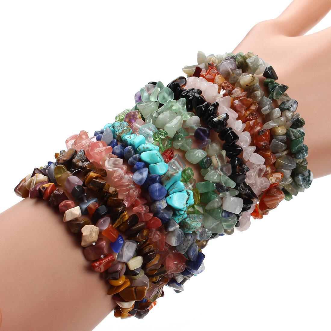 7 Chakra Healing Crystals Natural Stone Chips Single Strand Women Bracelets Lazuli Reiki Bracelets For Women