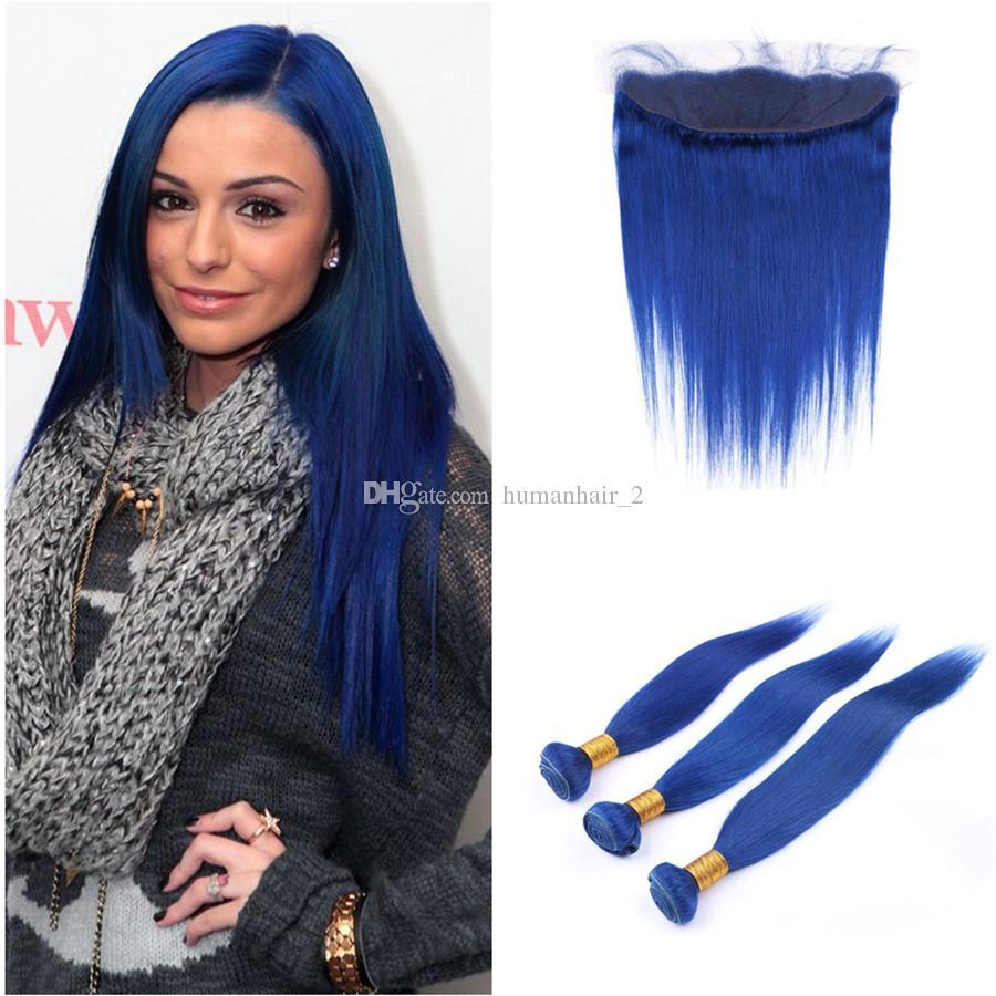 4Pcs Lot Seidiges gerades Ohr zum Ohr Frontal Menschenhaar Extensions Brasilianisches Haar Blau Farbe 3 Bundles mit Spitze Frontal Schließung 13x4