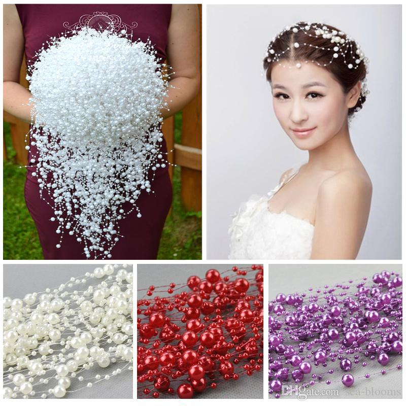 2018 8+3mm Artificial Pearls Beads Chain Fishing Line Flower Bride Head Decor Wedding Party Decoration 75 Meters/Roll D878L