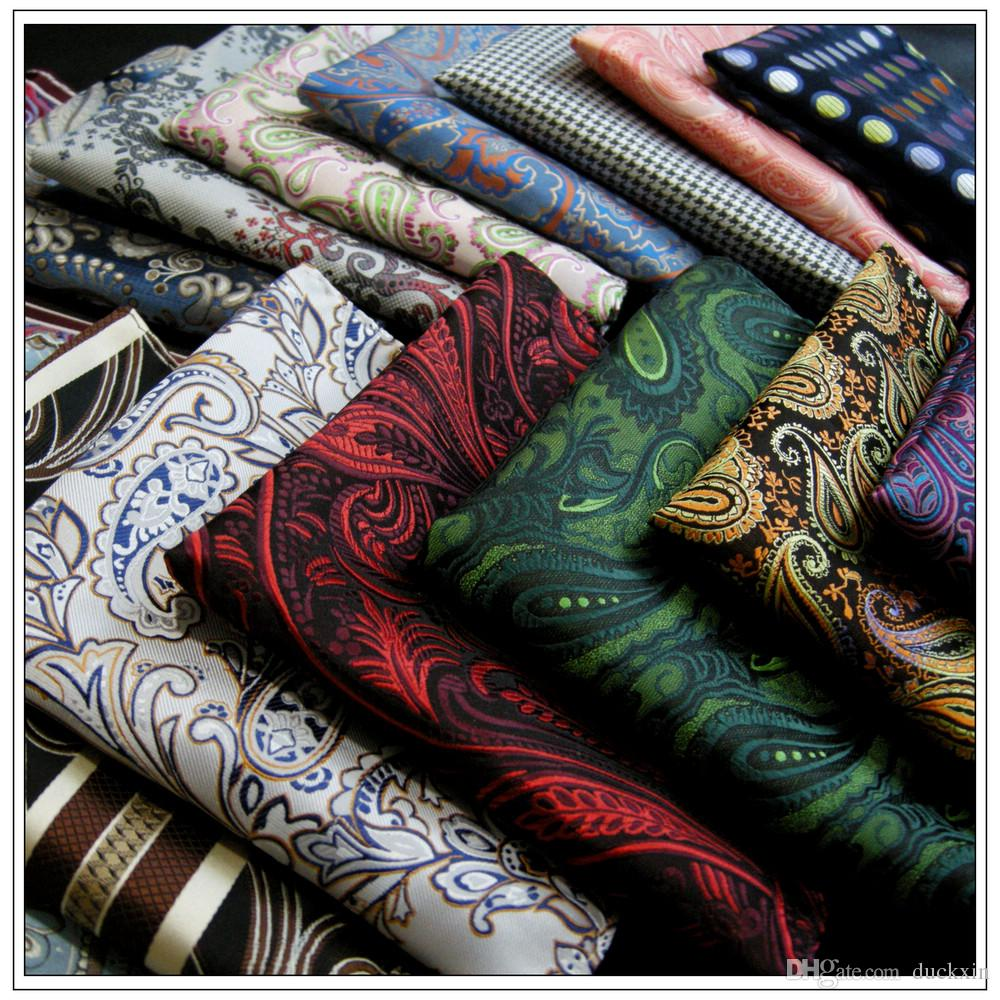 Wholesale Assorted Mens Pocket Squares Hankies Hanky Handkerchief Large Size Accessory Free Shipping Neckties Ties