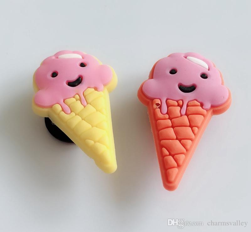 10pcs decoración lindo del helado pulsera encantos accesorios de zapato plano de PVC de bricolaje Gadgets Novedad niños zapata de accesorios regalos
