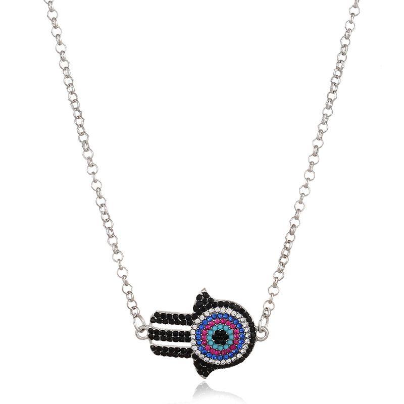 Blue Evil Eye Hamsa Fatima Palm Necklace lucky Turkish Kabbalah hand pendants for women best friend fashion gift jewelry