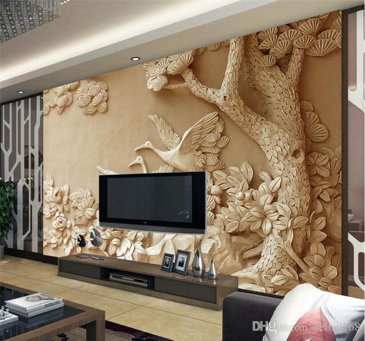 Embossed Bird Tree Flower Mural For Living Room Home Wall Decor Wallpaper 3d For Walls Papier Peint Mural 3d Custom Photo Mural Widescreen Wallpapers