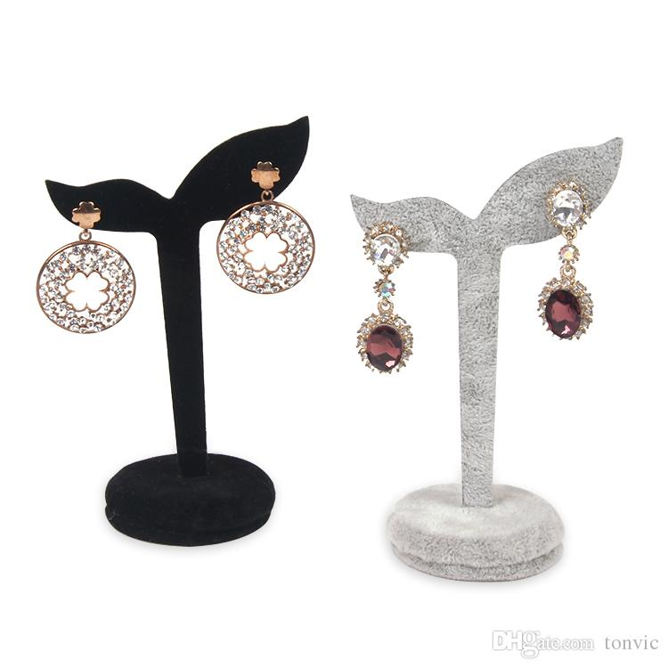 TONVIC TONVIC Wholesale 4Pcs Elegant Black/Gray Velvet Covered Jewelry Display Earring Tree Stand Holder 2 Holes New Arrival