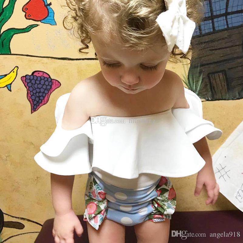 Baby Fly manga romper INS ruffler folha De Lótus gola Macacões 2018 novo verão crianças Um Ombro Escalada roupas C3557