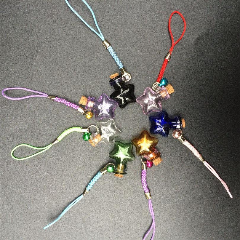 Mini Stars Bottles Crafts with Nylon Rope Key Chains Mini Bracelets Jars Glass BottlesCrafts Mixed Color 7pcs Free Shipping4