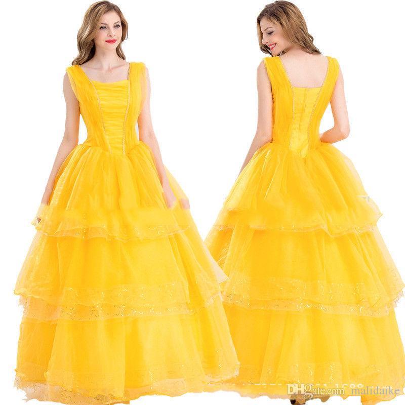 Malidaike 미녀와 야수 댄스 볼 공주 노란색 드레스 코스프레 의상 할로윈 파티 정장