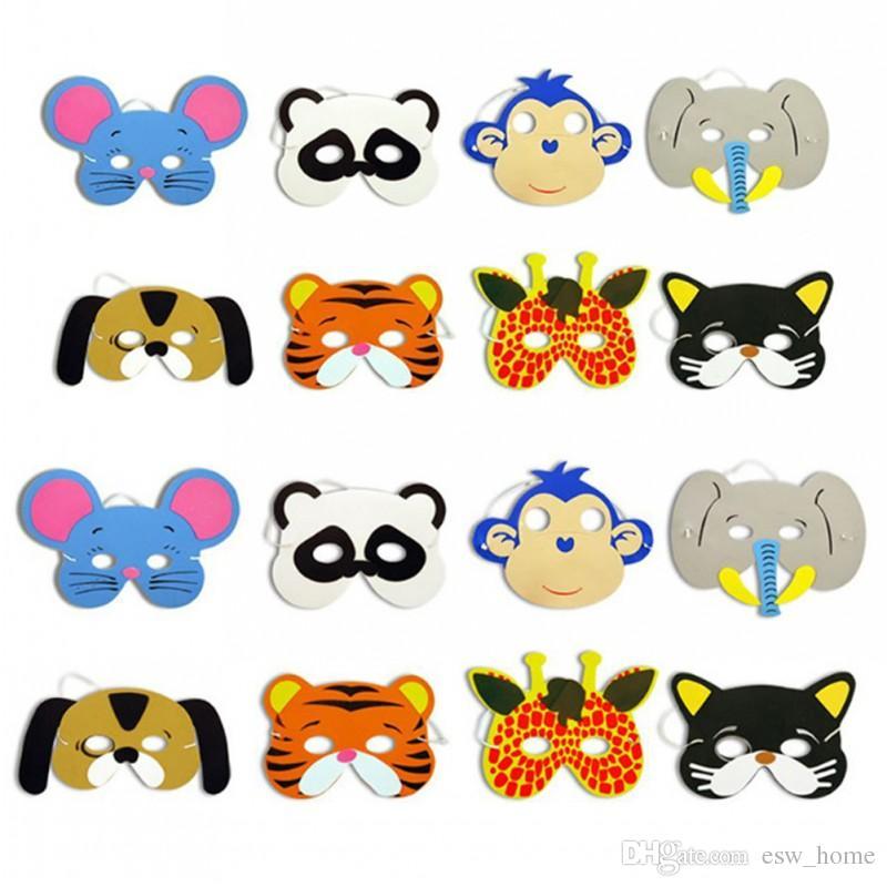 EVA Schiuma Realistic Animal Mask Cartoon Bambini Chileren Party Dress Up Costume Zoo Jungle Mask Decorazione del partito di Halloween