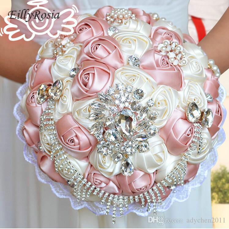 Westearn Art-Hochzeits-Blumensträuße Entwerfer-Brautblumen-nach Maß Satin-Blumen-Rosen-künstlicher Kristallbraut-Blumenstrauß boeket blumenstrauss