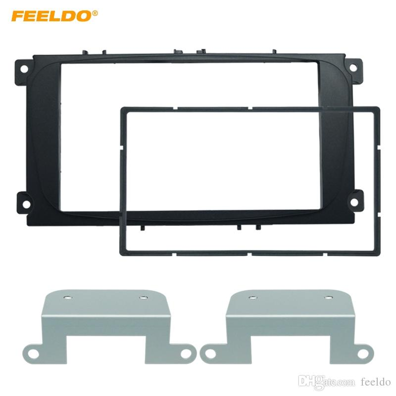 Cadre de radio Fascia pour voiture 2DIN Audio FEELDO noir pour Ford Mondeo 2007 / C Max Kit panneau de plaque de garniture latérale # 1720