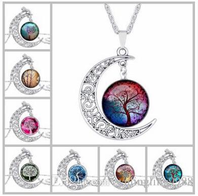 شجرة الحياة القلائد غالاكسي كوكبة زودياك تسجيل الزجاج كابوشون قلادة الفضة القديمة الهلال القمر قلادة أزياء المرأة مجوهرات