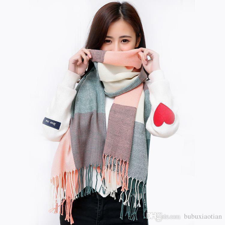 Korean Version Autumn Winter Warm Imitation Cashmere Tassel Students New Plaid Scarf Women Winter Shawl Manufacturers Wholesale