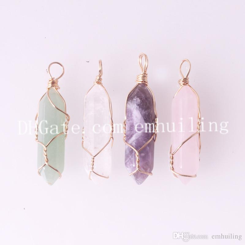 Gold Plated Natural Rose Quartz Crystal Gemstone Hexagon Pendant Chain Necklace