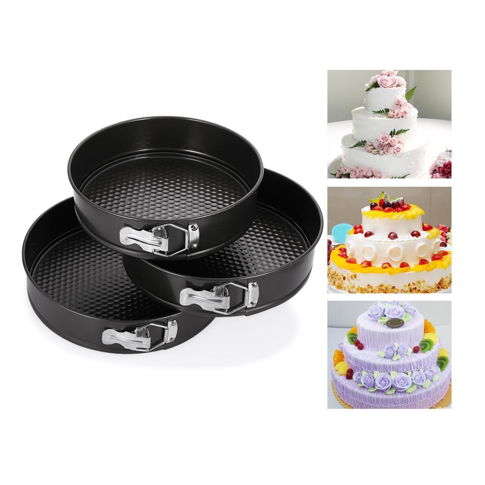 3PCS Nonstick Spring Pans Bakeware Round Shape Cake Molds Removal Bottom Bake Cooking Circle Mold Cake Decoration Baking Tools