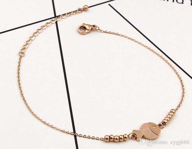 Korean fashion single layer clown fish bracelet anklet female fashion wild titanium steel plated 18k rose gold foot rope jewelry