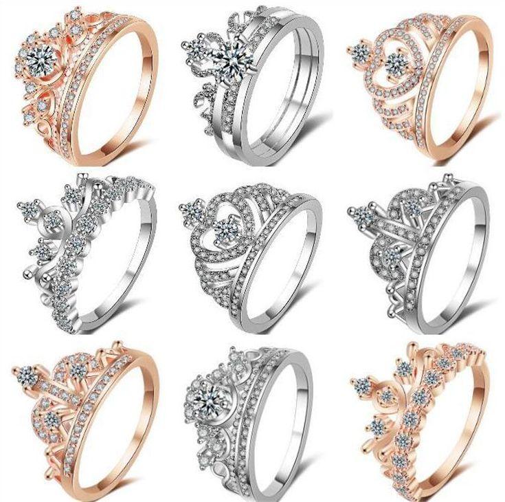 멀티 스타일 크라운 다이아몬드 반지 여성 보석 크리스탈 반지 그릴 좋은 선물 크리 에이 티브 반지 무료 배송