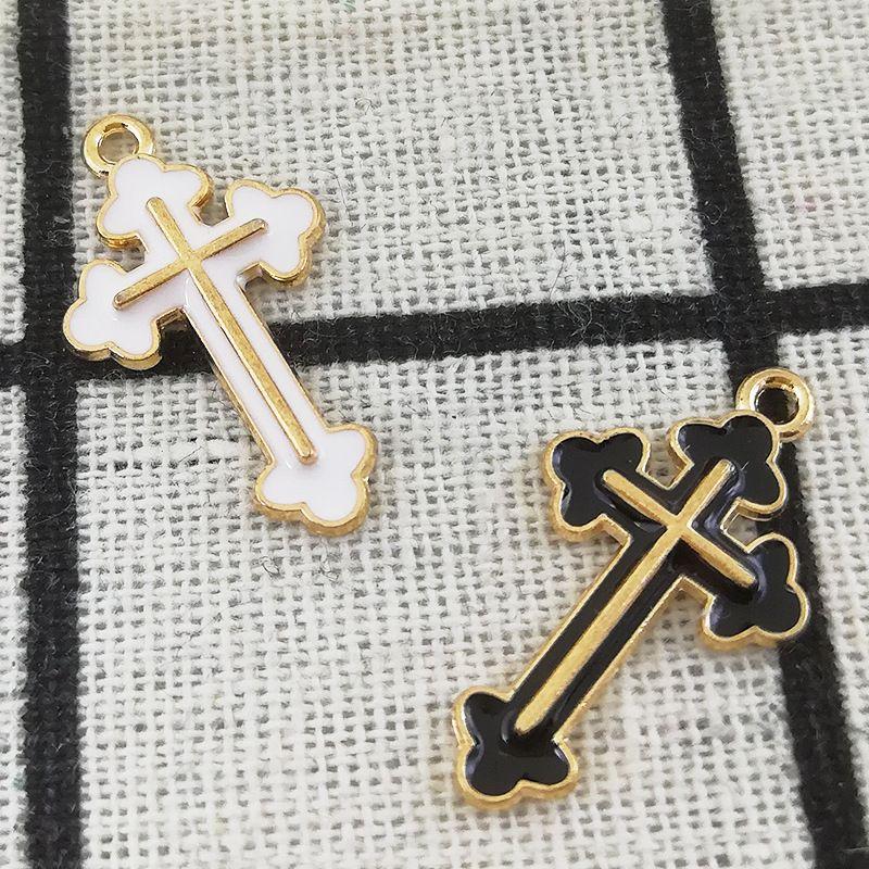 200 PCS 14 * 26 MM Cross Encantos Pingente de Jóias Diy Acessórios para Colar Pulseira Fazendo Encantos Esmalte Em Metal De Ouro