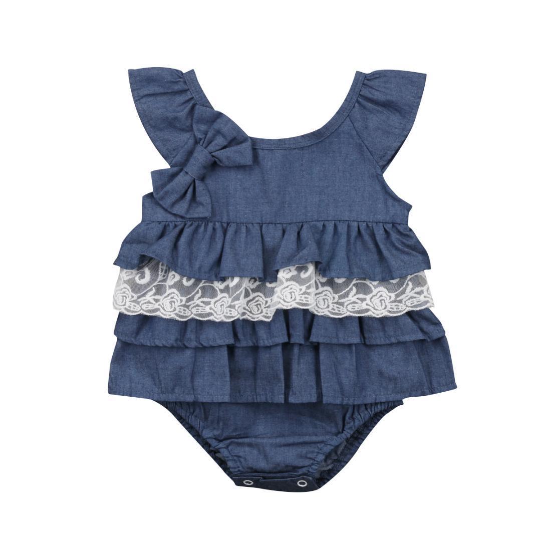 2018 Newborn Kids Baby Little Princess Blue Romper Party Lace Tutu Cotton Dress Clothes Outfit 0-18M