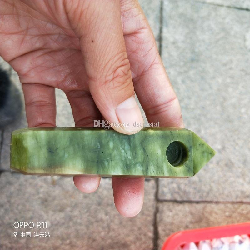Free Shipping Wholesale new novelt Carb Hole smoking pipes natural multi CRYSTAL quartz Tobacco Pipes healing Hand Pipes+1 pcs Metal filter