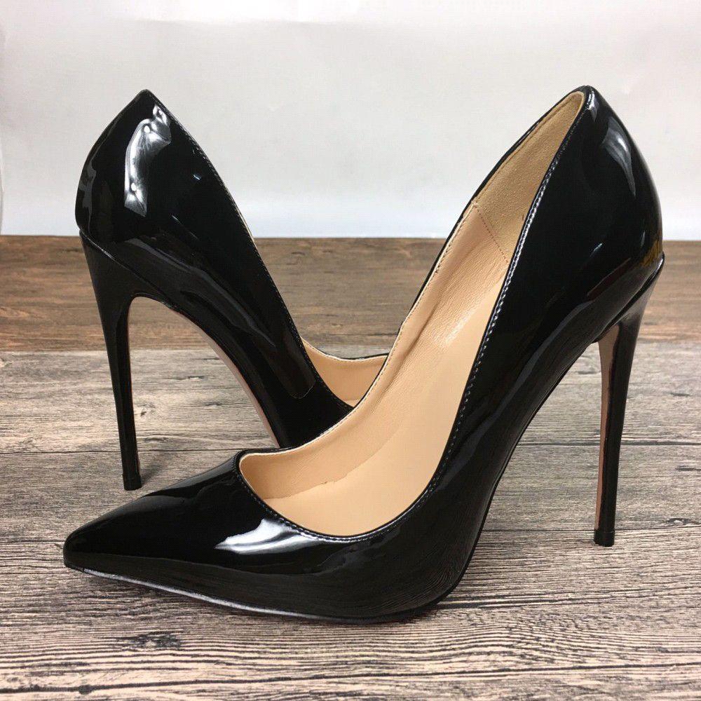 Yeni bayan siyah yüksek topuklu özel marka patent deri PU ayakkabı yüksek topuklu ayakkabılar ile 10 cm 12 cm sığ ağız tek ayakkabı ayakkabı