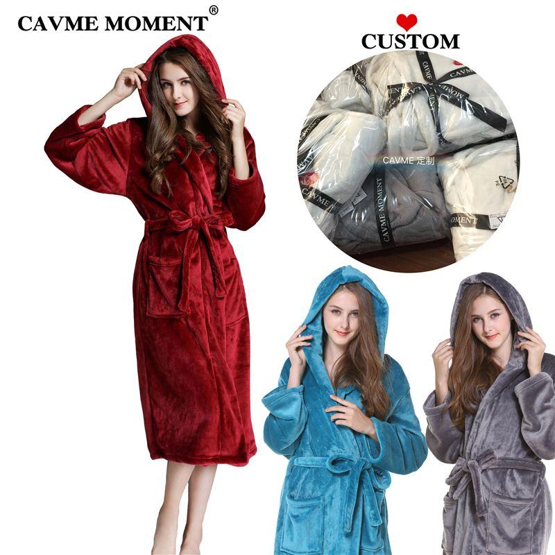 Женская спящая одежда Cavme Женщины Мужчины плюс размер с капюшоном Фланель халат с капюшоном с капюшоном с капюшоном Халат из твердого цвета Зимний халат ночной халат Длинные одежды красный / серый / синий