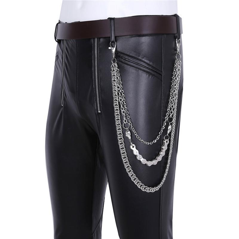 Großhandel TiaoBug Mode Männer Punk Goth Schädel Stil Männlich Jeans Hosen Kette Hot Cool Männer Biker Brieftasche Key Rock Hip Hop Metall Taille