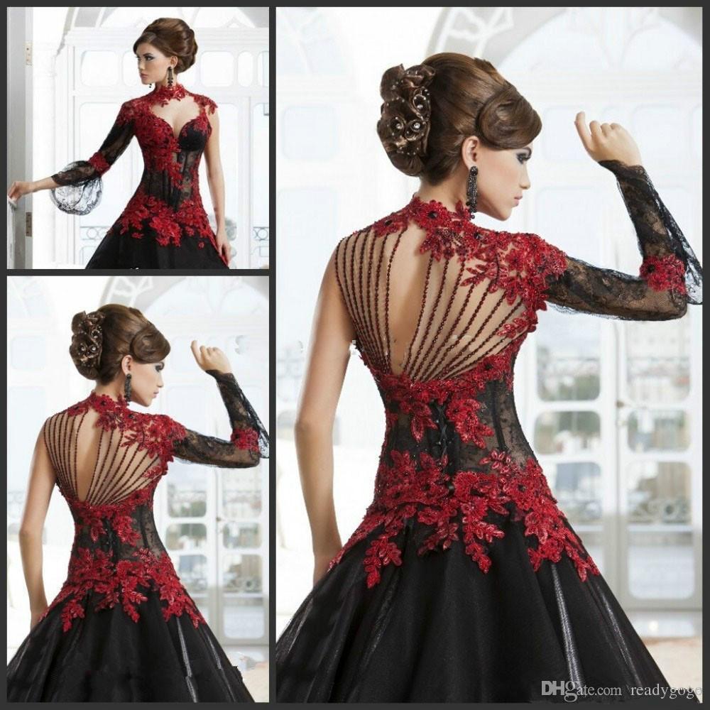 Vintage noir et rouge victorienne gothique mascarade Halloween soirée Robes de soirée Keyhole col haut manches longues robe de bal, plus la taille
