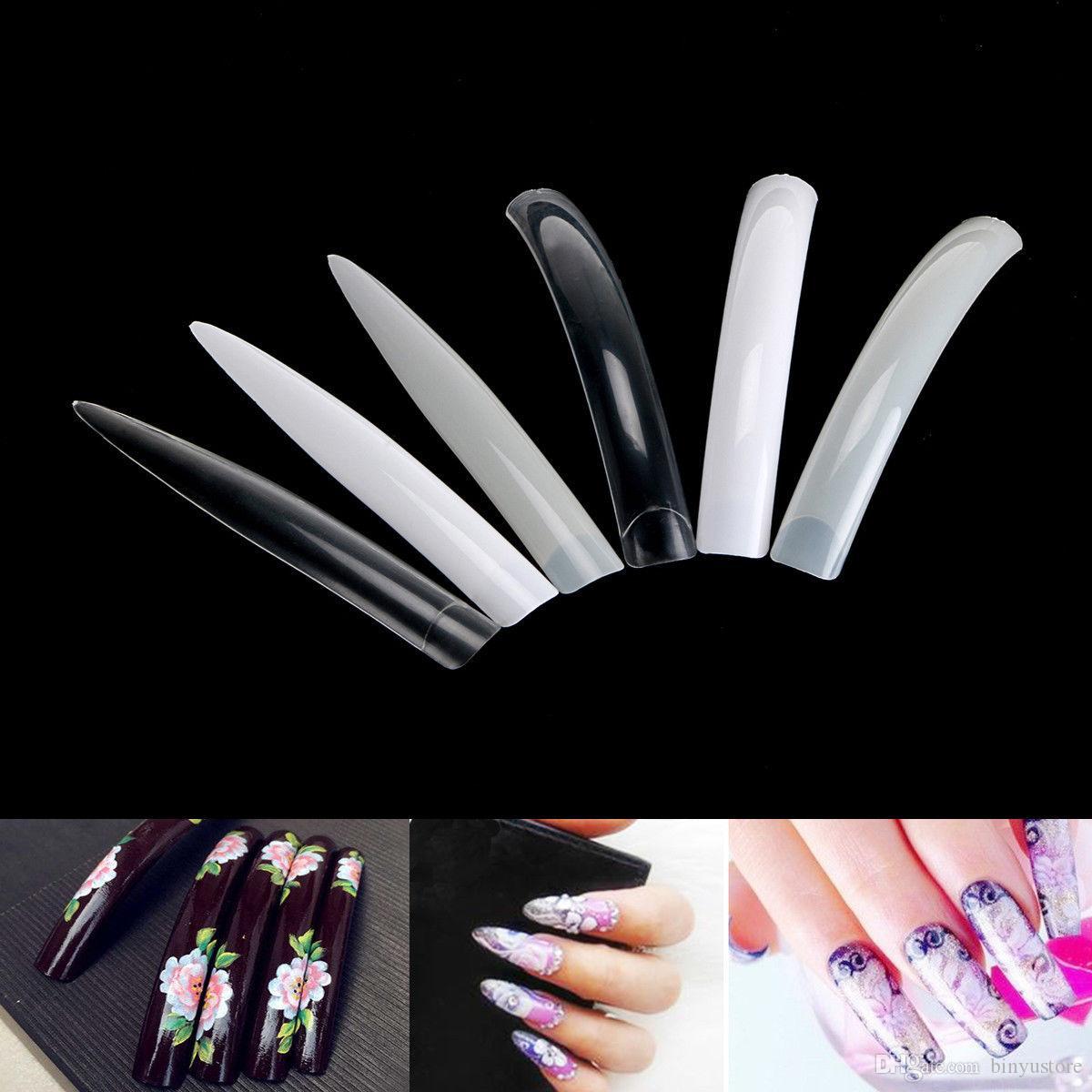 Hot Sale New 100PCS Super Extra Long False Nail Art Tips Acrylic Gel Salon Stage Art Tips 10 SIZE