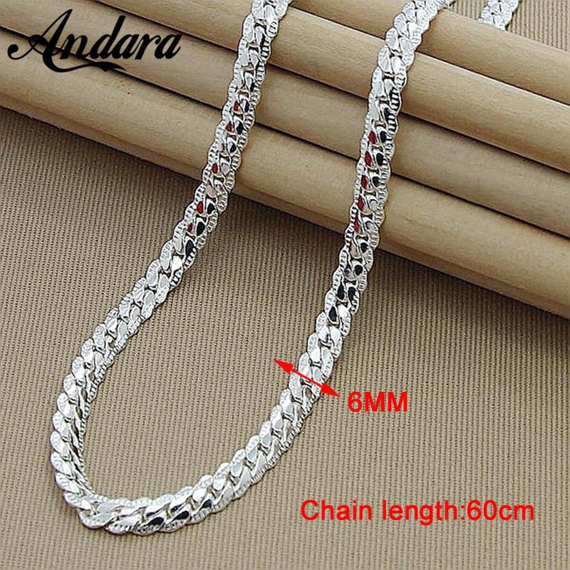 Hombres 6 MM 60 cm Serpiente Cadena Collares Color Plata Moda 925 Joyería Mujer Collar de Cadena de Plata Masculino