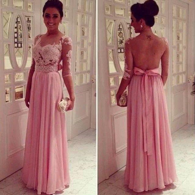 Venta caliente gasa espalda media mangas rosa madre de la novia vestidos con apliques para mujeres banquete de boda