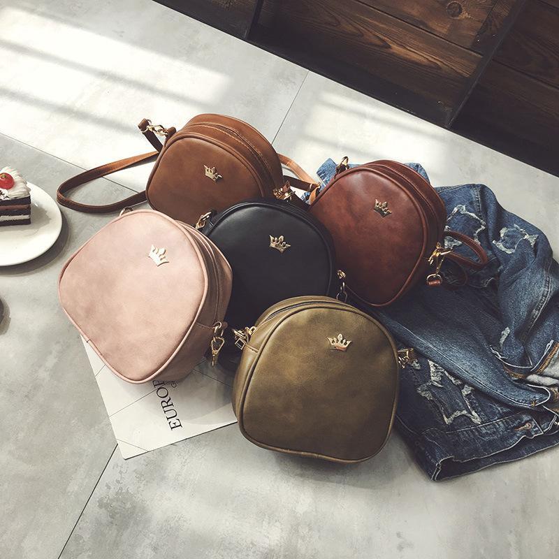 Frauen arbeiten Handtaschen-Kurier-Beutel PU-Leder Schultertasche Lady Umhängetasche Mini Tasche weiblich Crown Abendtaschen