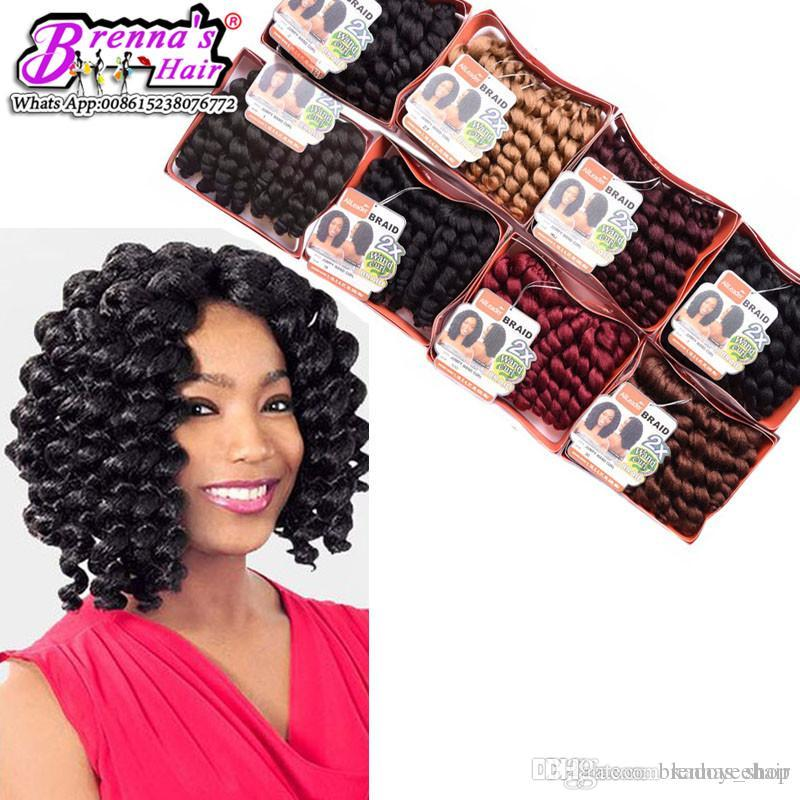 Synthetic 2x Bounce Twist Hair Extension Free Gift Crochet Havana Mambo Twist Braiding Hair Synthetic Wand Curl Twist Crochet Hair Weaving