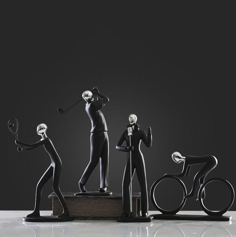 Nordic Moderna Creativo resina Sport persone figurine vintage statua home decor artigianato decorazione della stanza oggetti uomo figurine regalo