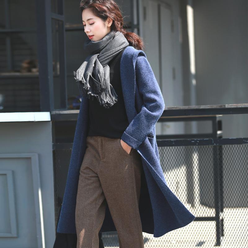 LYNETTE'S CHINOISERIELRCP Primavera Otoño Mujeres nuevo abrigo de lana suelto literario mujeres Delgado cardigan de punto largo Suéter azul sólido